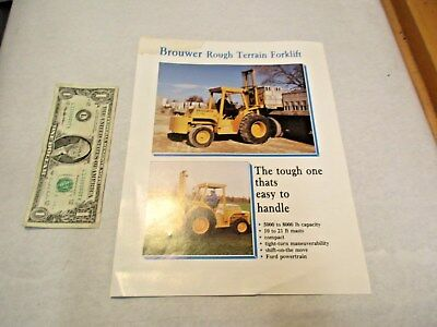 1988 Brouwer Rough Terrain Forklift Brochure That Is In Good Shape - Nr