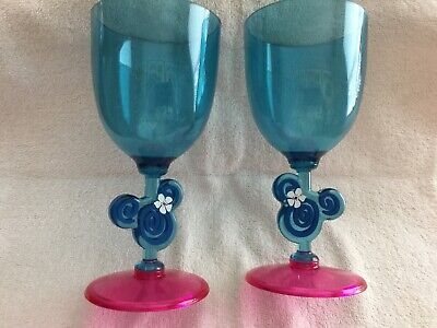 PAIR OF DISNEY PLASTIC WINE GLASSES WITH MINNIES HEAD ON STEM - PRE-OWNED](Plastic Stem Wine Glasses)
