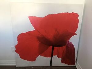 Toile avec fleur rouge - Canvas with a picture of a red flower