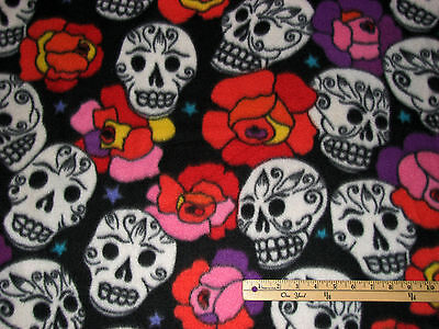 Day of the Dead Spanish Dia de los Muertos Skull Fleece Fabric  by the Yard  - Halloween Fleece Fabric By The Yard