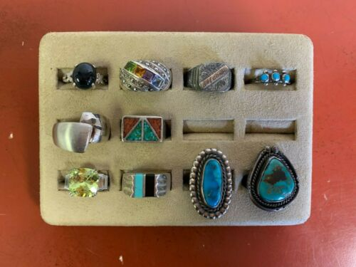 Set Of (10) Sterling Silver Rings Assorted Styles Sizes 7-9.5 Lot #21