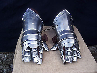 Medieval Gauntlets Armor Metal Plate Pair Set of 2 Gloves Knight