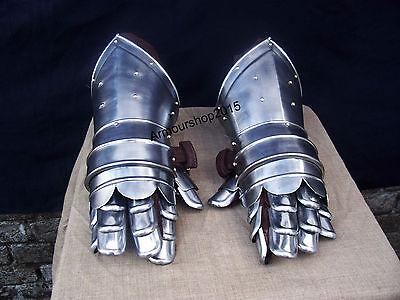 Medieval Gauntlets Armor Metal Plate Pair Set of 2 Gloves Knight