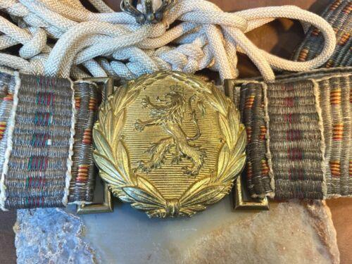 Royal Antique WWI WW2 Bulgarian Military Officer Parade Uniform Belt&Buckle Lion