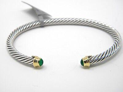 David Yurman Kids Small May Birthstone Emerald 4mm Cuff Bracelet Silver/Gold NWT