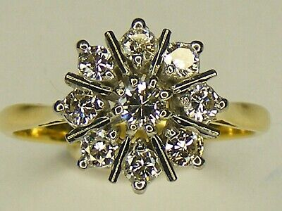 VINTAGE 0.66CT DIAMOND & 18CT GOLD FLOWER CLUSTER RING, SIZE O, 3.9 GRAMS