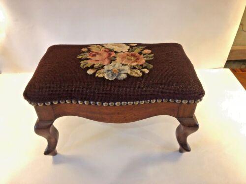 Vintage Footstool Floral Needlepoint Mahogany Wood Rectangle Shape
