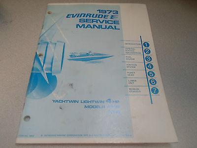 1973 Evinrude Service Shop Repair Manual 4 HP Yachtwin 4306 4336 OEM Boat 4902 x