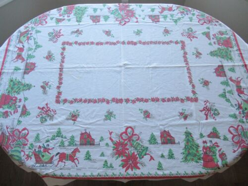 Vintage Christmas Tablecloth Horse with Sleigh Bells Carollers 59 1/2 x 49 1/2