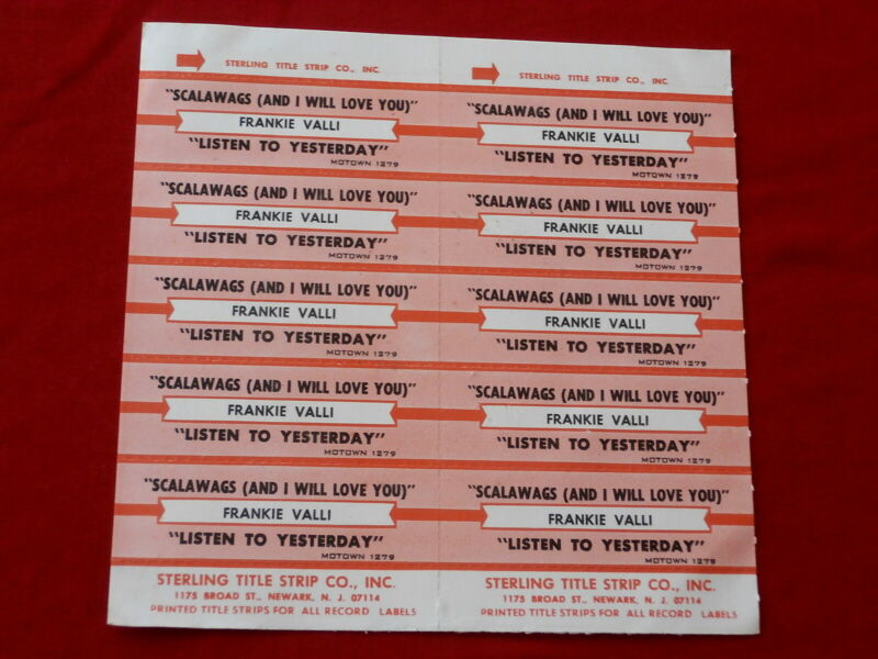 FRANKIE VALLI~ SCALAWAGS AND I WILL LOVE YOU~ LISTEN TO ~ JUKEBOX  TITLE STRIPS