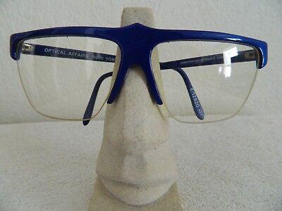 VINTAGE Optical Affairs eyeglasses Blue plastic semi rimless France E/12520 rare