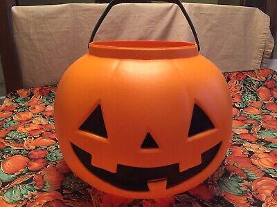 "Vtg*XXL*General Foam plastics*Pumpkin*handle*Blow-mold*USA*50""circ*bucket/pail*"