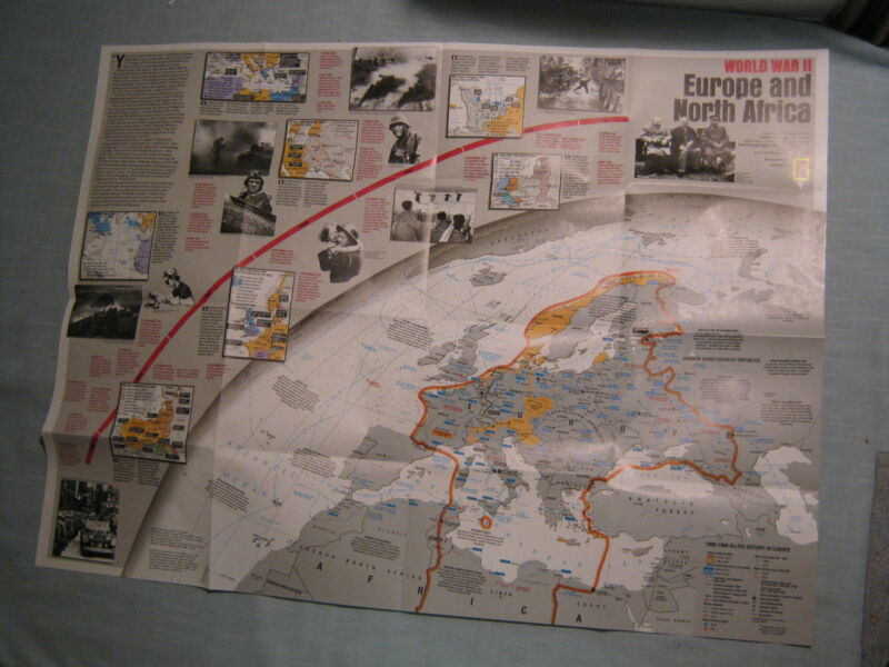 WORLD WAR II EUROPE & AFRICA + ASIA & PACIFIC MAP National Geographic 1991 MINT