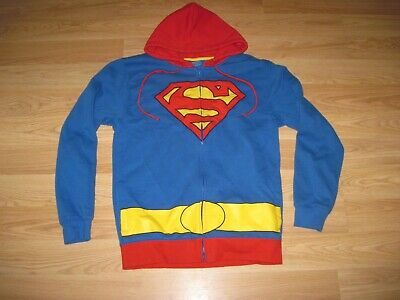 DC Comics Superman Mens Medium Zip Up Hoodie/Sweatshirt/Cosplay/Jacket/EUC G58](Superman Zip Up Hoodie)