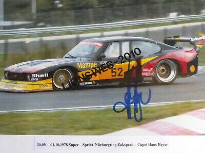 Autogrammfoto Hans Heyer Zakspeed Capri Grossfoto mit original Unterschrift  #05 for sale  Shipping to Ireland
