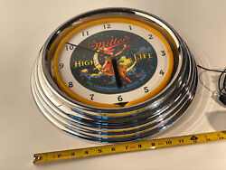 Vintage Miller High Life Champagne of Beers Girl Moon Neon Light Wall Clock 14