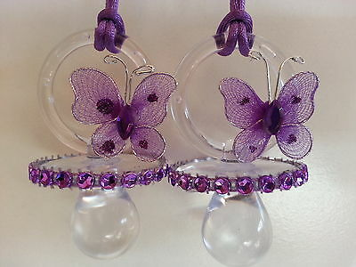 12 Purple Butterfly Pacifier Necklaces Baby Shower Game Girl Favors Prizes Decor
