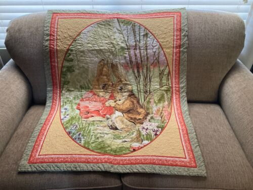 """Intricate Machine Quilted Beatrix Potter """"Peter Rabbit"""" Wall Hanging Reversible"""