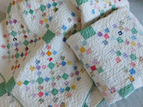 Set of 2 Vintage Antique Postage Stamp Quilts Hand Made Feed Sack Fabrics PAIR