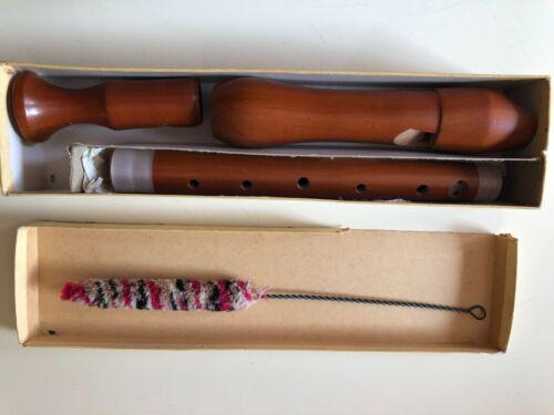 VINTAGE SCHREIBER 3 PIECE WOOD RECORDER IN ORIGINAL BOX