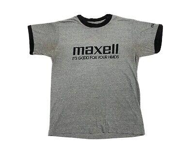 Vintage 80s MAXELL Cassette Ringer Tee Shirt NYC Rare TDK Hip Hop Hipster Metal