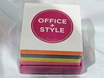 Office Style Sticky Note Pad Block Multi Color With Holder 3.25 By 3.25