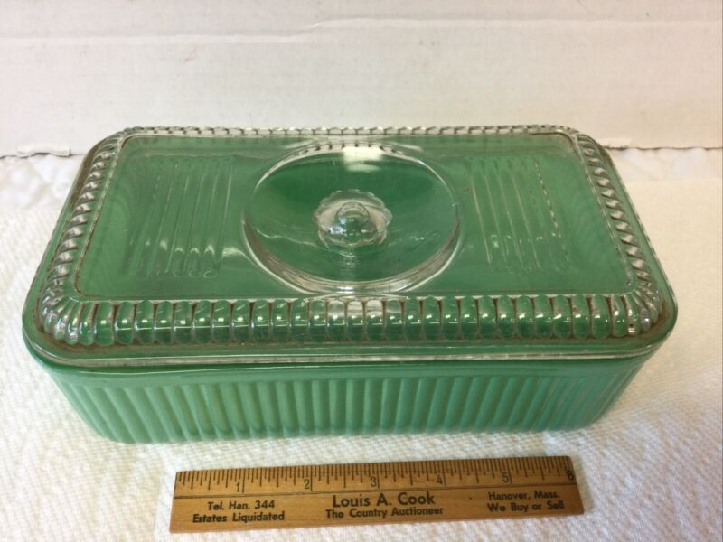 BEST Vintage Hazel Atlas Green Jadeite Refrigerator Glass Dish Box with Cover