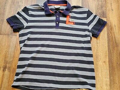 Lacoste Mens Polo Rugby Shirt Size 5 (small) Blue/Gray Striped - BIG L