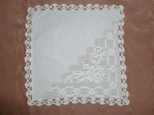 set of 12 Napkins-Hand Made Crochet Lace Floral Vintage Antique UNUSED