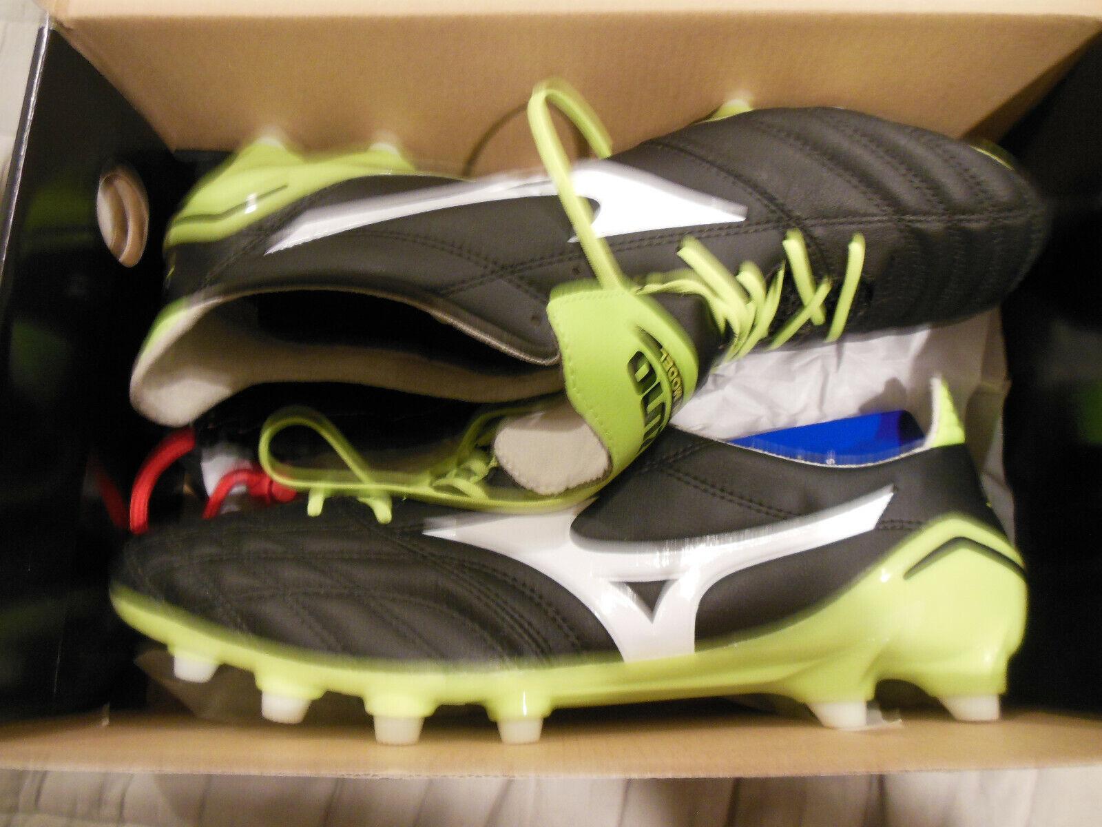 Mizuno Morelia Neo Black and Green Soccer Cleats.