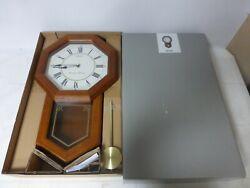 Seiko QXH110BLH Light Oak Traditional Schoolhouse Wall Clock - Chime & Pendulum