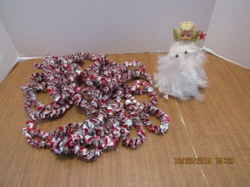 Vintage Angel Topper & Red & Silver Foil Garland For Your Feather or Silver Tree