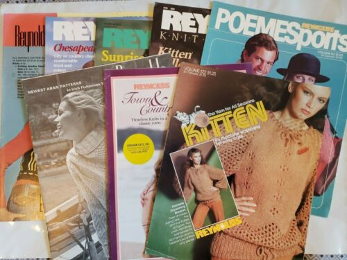 Lot of 8 Vintage Reynolds Knitting Pattern Instruction Books Leaflets