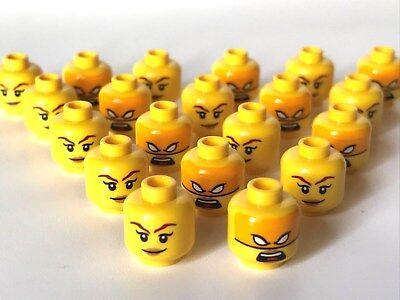 LEGO ®  20 x Kopf, weiblich, doppelseitig bedruckt, mit oranger Maske   (K19)