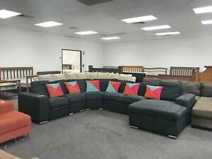 DELIVERY TODAY LUXURY BLACK U modular corner sofa & recliner SALE