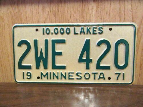 1971 Minnesota 10,000 Lakes 420 License Plate Tag # 2WE-420 Cannabis Marijuana