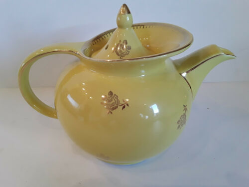 Rare Hall Yellow Gold Rose Windshield Teapot