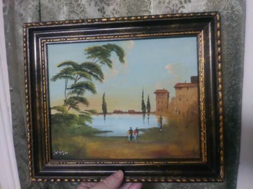 Original Vintage Oil Painting Landscape With Figures Francesco Sessa Signed - $44.00