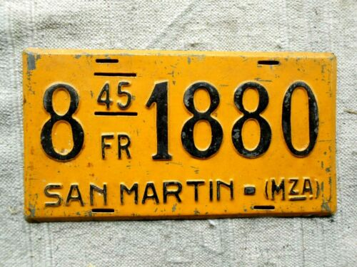 ARGENTINA License Plate Tag San Martin 1945  -   LOW SHIPPING