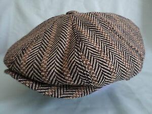 BROWN-1900-S-1920-S-1930-s-RETRO-VICTORIAN-EDWARDIAN-PEAKY-BLINDERS-CAP