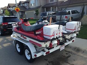 Jet Skis and trailer, three seaters, 2 stroke triples.