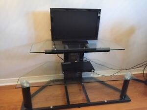 LCD TV and Glass Console Stand