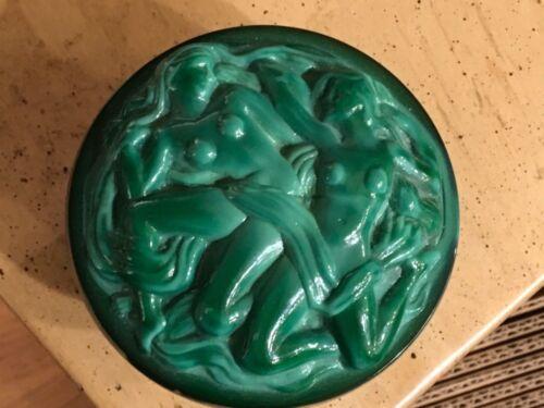 Malachite Style Lidded Design Ceramic Glass Trinket Jewelry Box Czechoslovakian