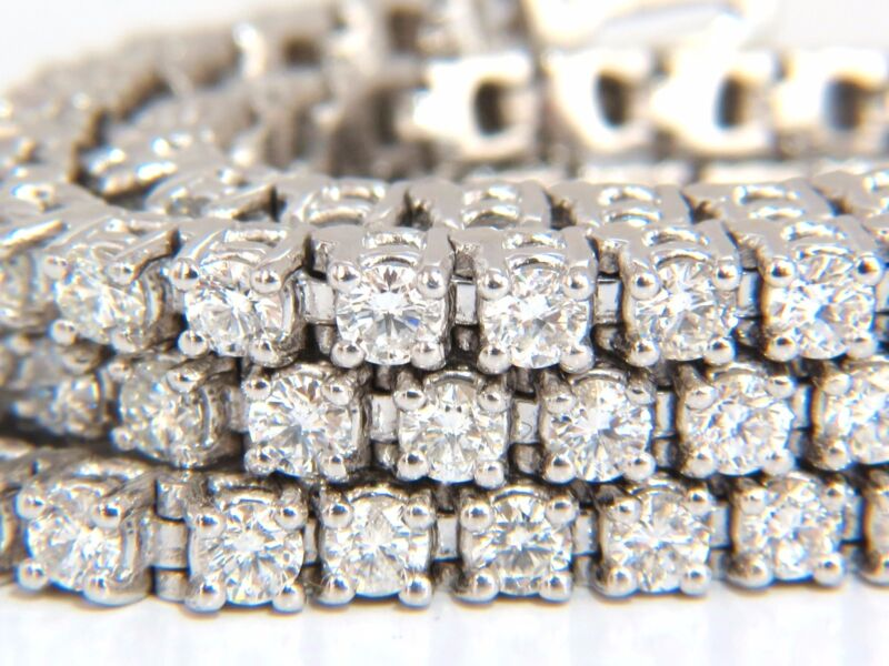 Natural Diamond Tennis Bracelet 12.32ct. G/vs 14kt Three Rows 7 Inch Brilliants