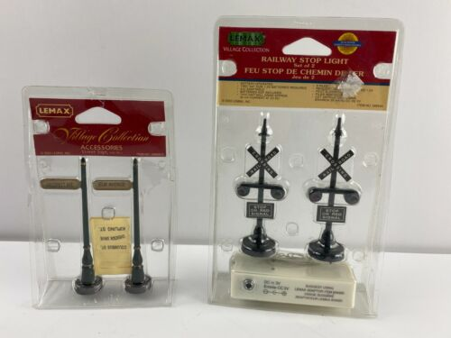 Lemax Christmas Village Accessories Railway Stop Light & Street Signs, Set of 2