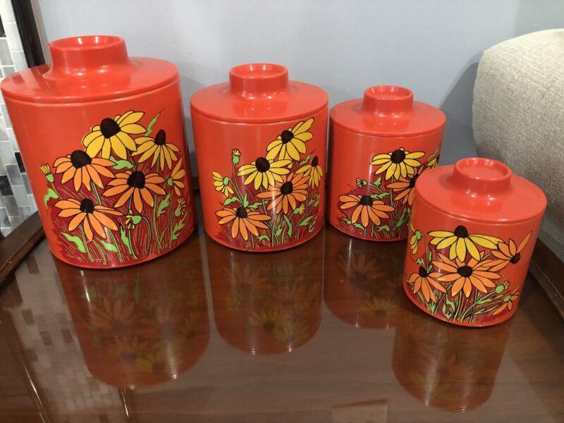 Vintage Ransburg Canister Set 4 Orange Daisies/Cornflowers  Nesting 1950's