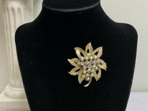 Vintage BSK Rhinestone Brooch Pin Aurora Borealis on Gold Tone Leaf Mid Century