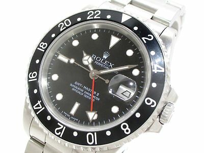 Auth ROLEX GMT Master 2 16710 Silver Black Men's Wrist Watch L592926