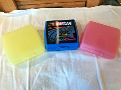 Tupperware Hinged, Locking SANDWICH KEEPERS Set of 3 Pink, Yellow, Blue NASCAR