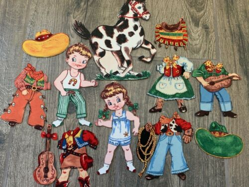 COWBOY & COWGIRL & HORSE Fabric Paper Dolls with Clothing & Accessories Set A
